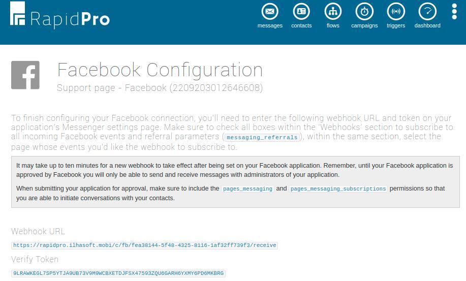 Facebook Channel Callback settings