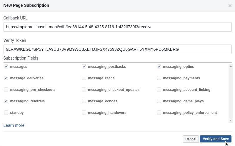 Facebook App Webhook settings
